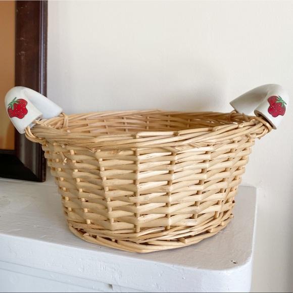 Vintage Wicker Basket with Ceramic Strawberry Print  Handles